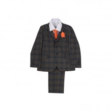 6 Piece Toddler and Boys Grey Plaid Suit Set (1-15 Years) - BUY OR HIRE from just £49.99