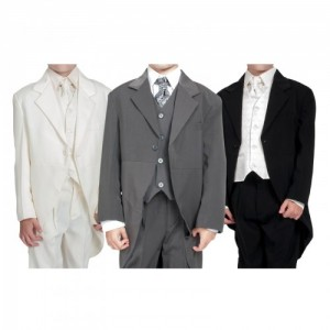 Boys 5 Piece Tailcoat Morning Suit In Black / Cream / Grey - BUY OR HIRE from just £10.99