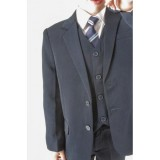 5 PIECE SLIM FIT SUIT 6 months - 15 Years BLACK / GRAY / NAVY / BROWN BUY OR HIRE from just £10.99
