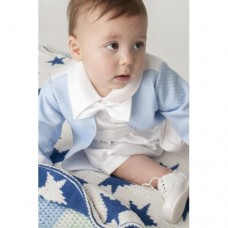 Boys Diamond Christening Romper In Blue - BUY OR HIRE from just £10.99