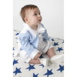 BOYS DIAMOND CHRISTENING ROMPER IN WHITE BUY OR HIRE from just £10.99