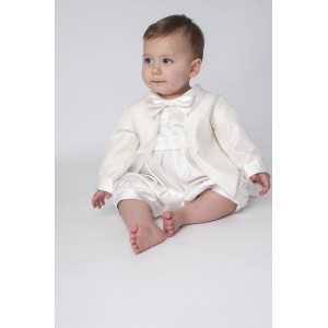 Boys Diamond Christening Romper In Ivory - BUY OR HIRE from just £10.99
