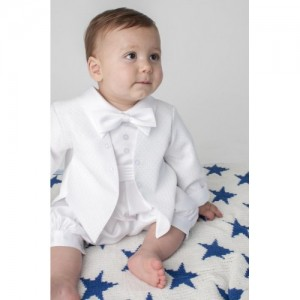 Boys Diamond Christening Romper In White - BUY OR HIRE from just £10.99
