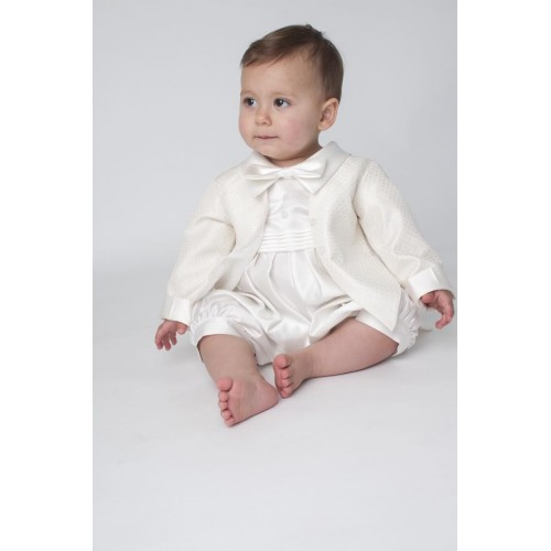 Boys Paisley Christening Romper In Ivory - BUY OR HIRE from just £10.99